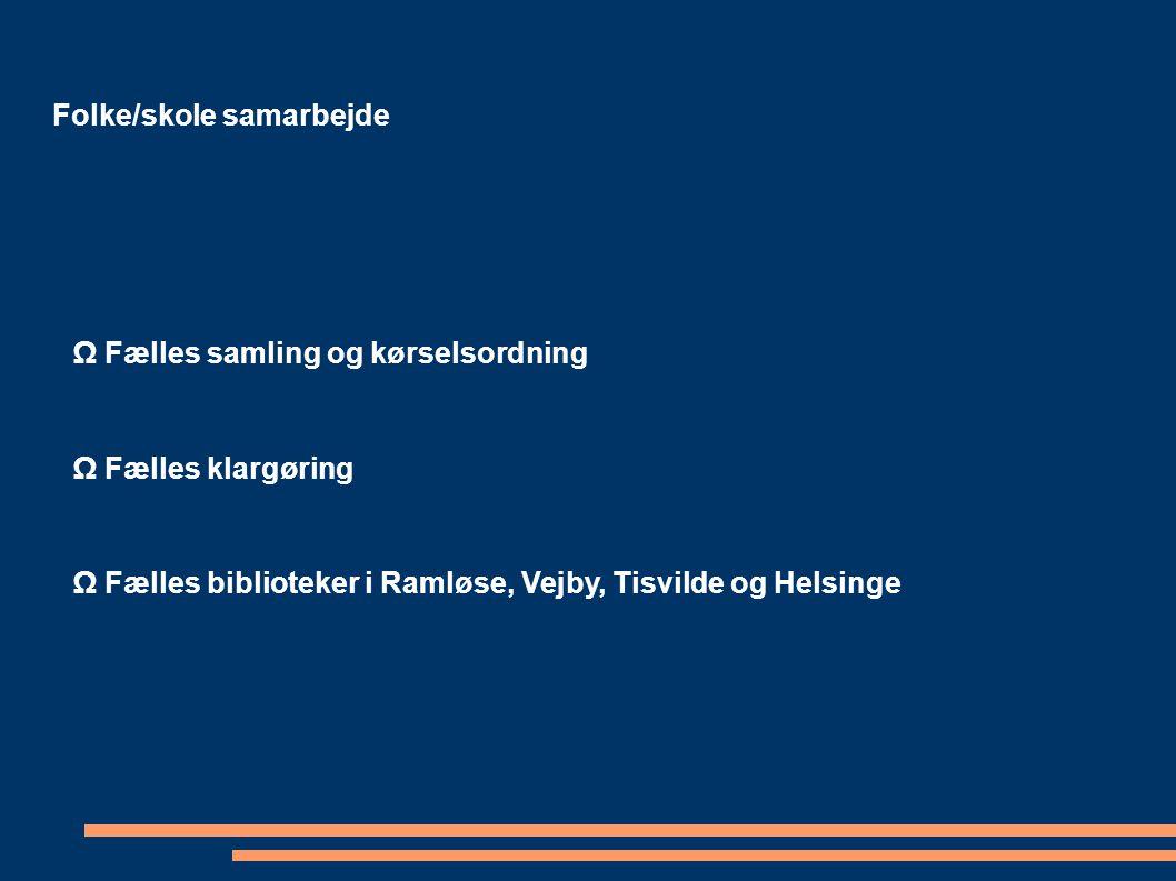 Folke/skole samarbejde Ω Fælles samling og kørselsordning Ω Fælles klargøring Ω Fælles biblioteker i Ramløse, Vejby, Tisvilde og Helsinge