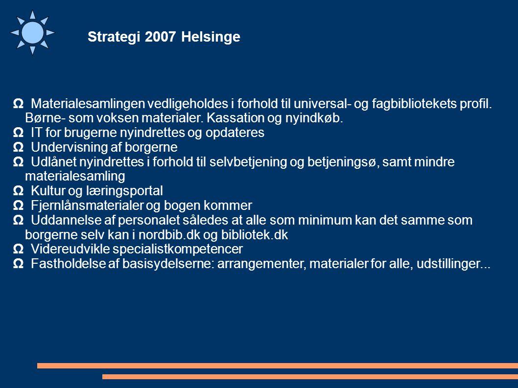 Strategi 2007 Helsinge Ω Materialesamlingen vedligeholdes i forhold til universal- og fagbibliotekets profil.