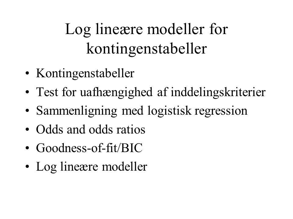 Log lineære modeller for kontingenstabeller Kontingenstabeller Test for uafhængighed af inddelingskriterier Sammenligning med logistisk regression Odds and odds ratios Goodness-of-fit/BIC Log lineære modeller