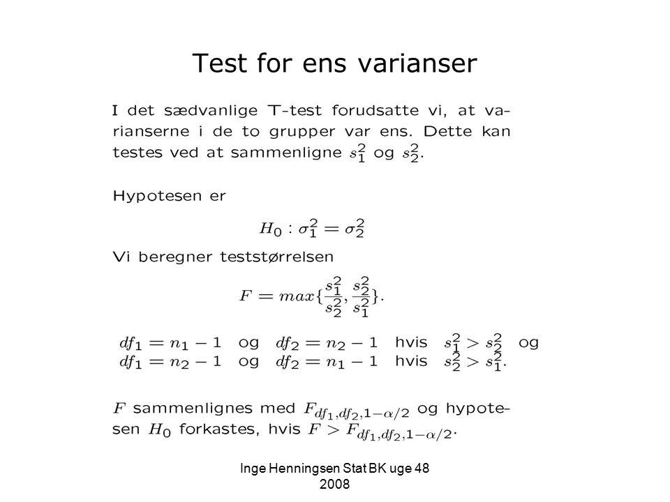Test for ens varianser
