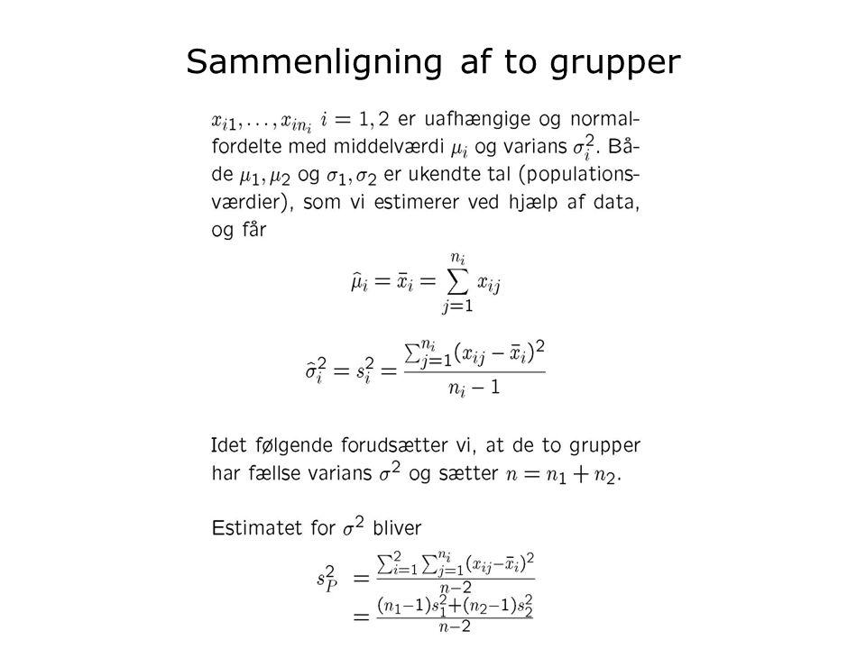 Inge Henningsen Stat BK uge 48 2008 Sammenligning af to grupper