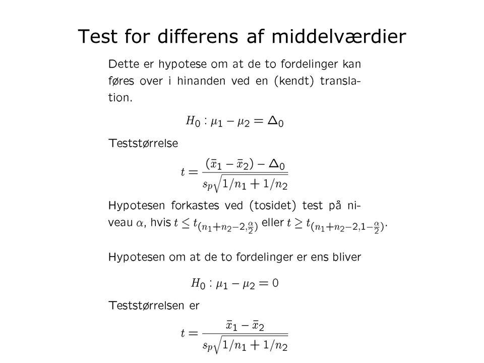 Test for differens af middelværdier