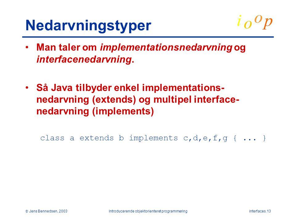  Jens Bennedsen, 2003Introducerende objektorienteret programmeringinterfaces.13 Nedarvningstyper Man taler om implementationsnedarvning og interfacenedarvning.