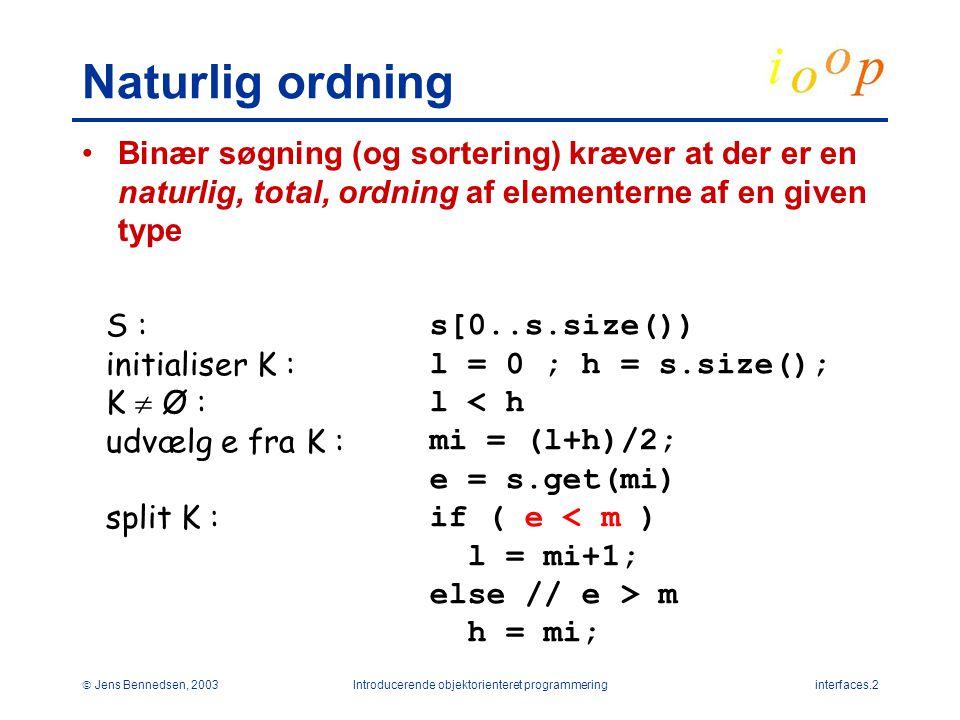  Jens Bennedsen, 2003Introducerende objektorienteret programmeringinterfaces.2 Naturlig ordning Binær søgning (og sortering) kræver at der er en naturlig, total, ordning af elementerne af en given type S : initialiser K : K  Ø : udvælg e fra K : split K : s[0..s.size()) l = 0 ; h = s.size(); l < h mi = (l+h)/2; e = s.get(mi) if ( e < m ) l = mi+1; else // e > m h = mi;