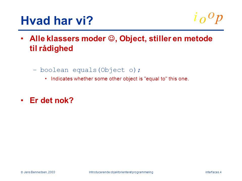  Jens Bennedsen, 2003Introducerende objektorienteret programmeringinterfaces.4 Hvad har vi.