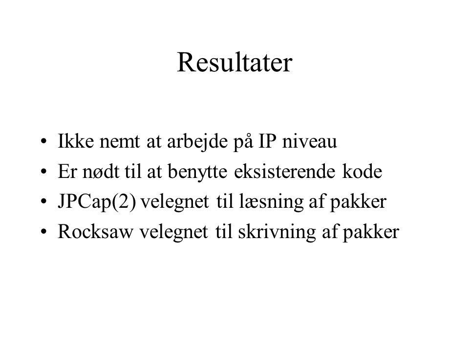 Resultater Ikke nemt at arbejde på IP niveau Er nødt til at benytte eksisterende kode JPCap(2) velegnet til læsning af pakker Rocksaw velegnet til skrivning af pakker