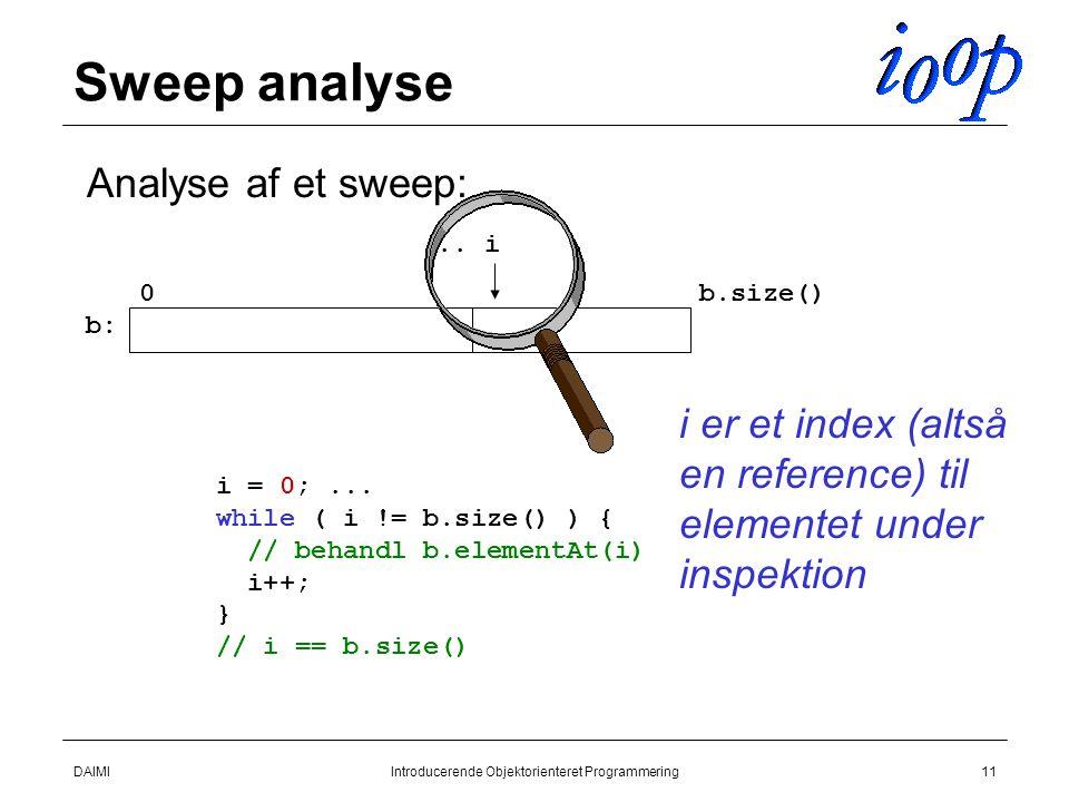 DAIMIIntroducerende Objektorienteret Programmering11 Sweep analyse  Analyse af et sweep:...