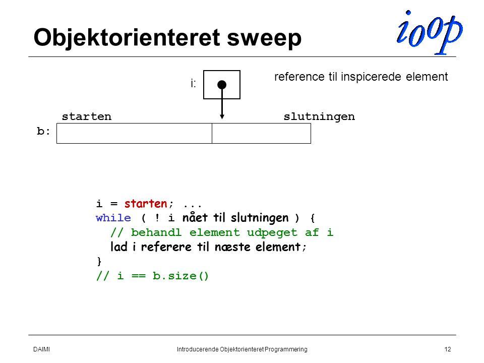 DAIMIIntroducerende Objektorienteret Programmering12 Objektorienteret sweep startenslutningen i = starten ;...