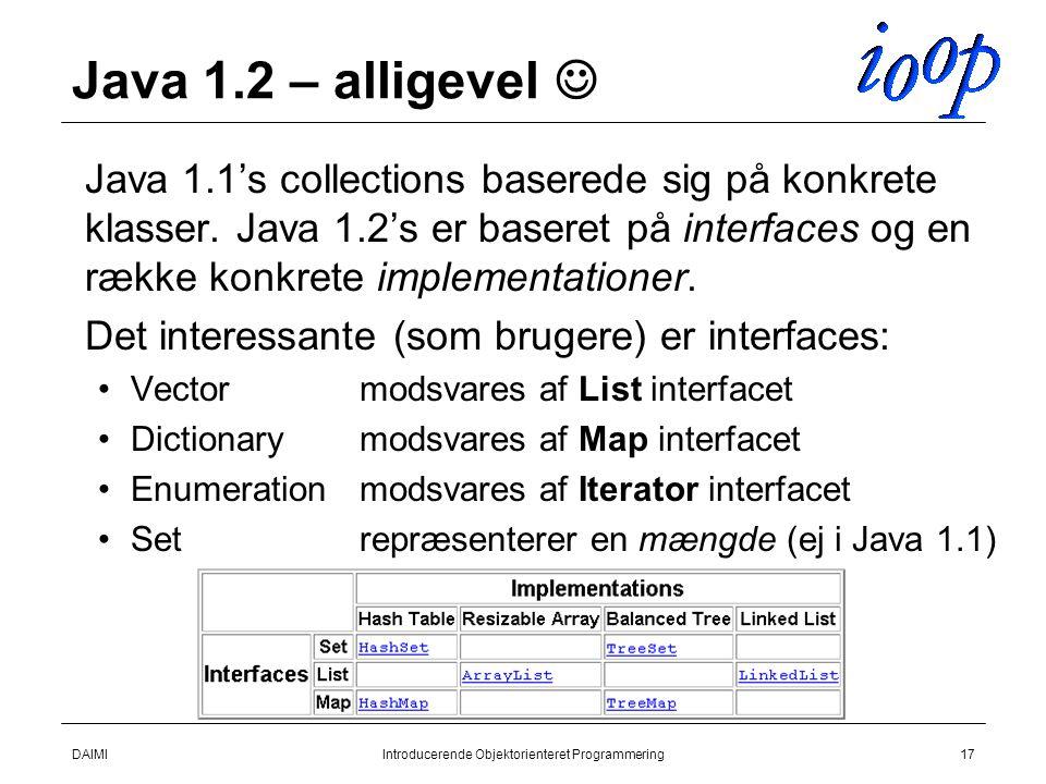 DAIMIIntroducerende Objektorienteret Programmering17 Java 1.2 – alligevel  Java 1.1's collections baserede sig på konkrete klasser.
