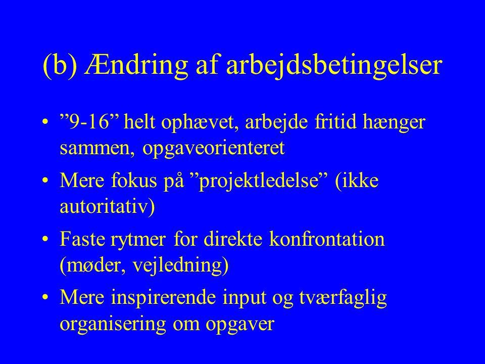 (b) Ændring af arbejdsbetingelser 9-16 helt ophævet, arbejde fritid hænger sammen, opgaveorienteret Mere fokus på projektledelse (ikke autoritativ) Faste rytmer for direkte konfrontation (møder, vejledning) Mere inspirerende input og tværfaglig organisering om opgaver