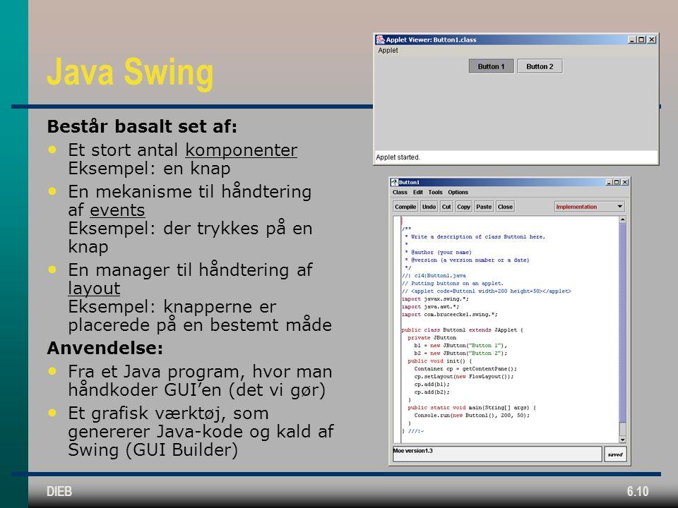 DIEB6.10 Java Swing Består basalt set af: Et stort antal komponenter Eksempel: en knap En mekanisme til håndtering af events Eksempel: der trykkes på en knap En manager til håndtering af layout Eksempel: knapperne er placerede på en bestemt måde Anvendelse: Fra et Java program, hvor man håndkoder GUI'en (det vi gør) Et grafisk værktøj, som genererer Java-kode og kald af Swing (GUI Builder)