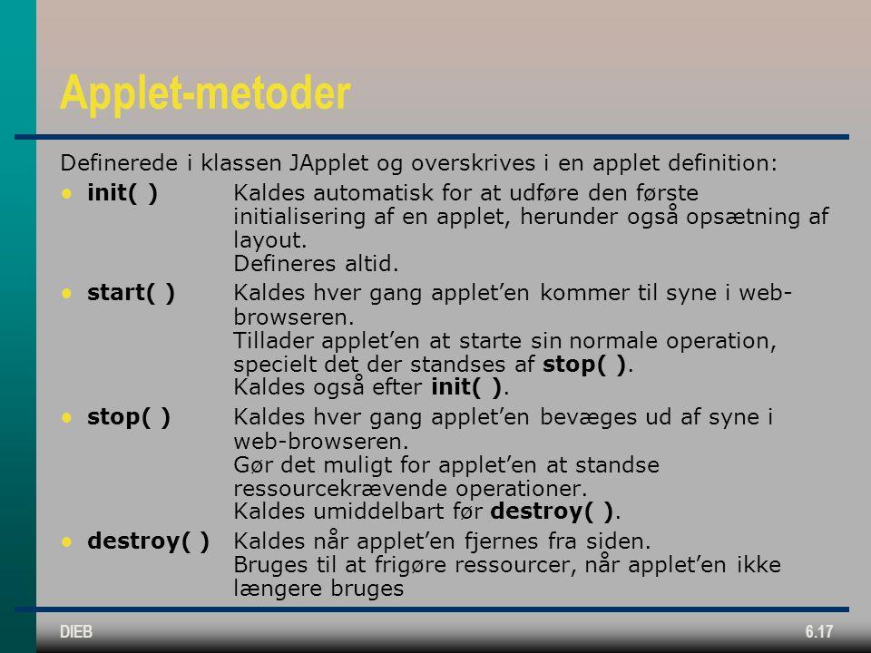 DIEB6.17 Applet-metoder Definerede i klassen JApplet og overskrives i en applet definition: ● init( )Kaldes automatisk for at udføre den første initialisering af en applet, herunder også opsætning af layout.