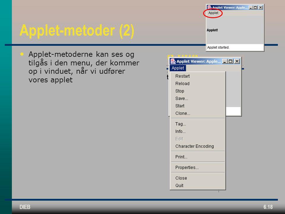DIEB6.18 Applet-metoder (2) Applet-metoderne kan ses og tilgås i den menu, der kommer op i vinduet, når vi udfører vores applet