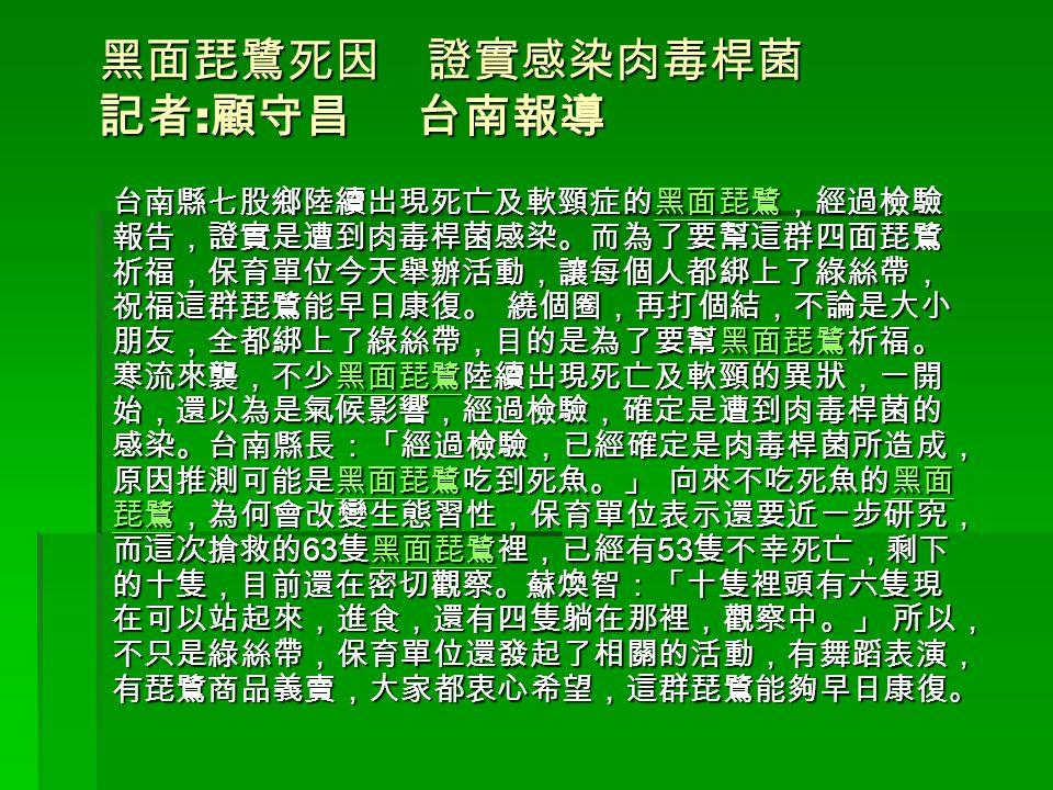 黑面琵鷺死因 證實感染肉毒桿菌 記者 : 顧守昌 台南報導 台南縣七股鄉陸續出現死亡及軟頸症的黑面琵鷺,經過檢驗 報告,證實是遭到肉毒桿菌感染。而為了要幫這群四面琵鷺 祈福,保育單位今天舉辦活動,讓每個人都綁上了綠絲帶, 祝福這群琵鷺能早日康復。 繞個圈,再打個結,不論是大小 朋友,全都綁上了綠絲帶,目的是為了要幫黑面琵鷺祈福。 寒流來襲,不少黑面琵鷺陸續出現死亡及軟頸的異狀,一開 始,還以為是氣候影響,經過檢驗,確定是遭到肉毒桿菌的 感染。台南縣長:「經過檢驗,已經確定是肉毒桿菌所造成, 原因推測可能是黑面琵鷺吃到死魚。」 向來不吃死魚的黑面 琵鷺,為何會改變生態習性,保育單位表示還要近一步研究, 而這次搶救的 63 隻黑面琵鷺裡,已經有 53 隻不幸死亡,剩下 的十隻,目前還在密切觀察。蘇煥智:「十隻裡頭有六隻現 在可以站起來,進食,還有四隻躺在那裡,觀察中。」 所以, 不只是綠絲帶,保育單位還發起了相關的活動,有舞蹈表演, 有琵鷺商品義賣,大家都衷心希望,這群琵鷺能夠早日康復。 黑面琵鷺 黑面 琵鷺黑面琵鷺 黑面 琵鷺黑面琵鷺