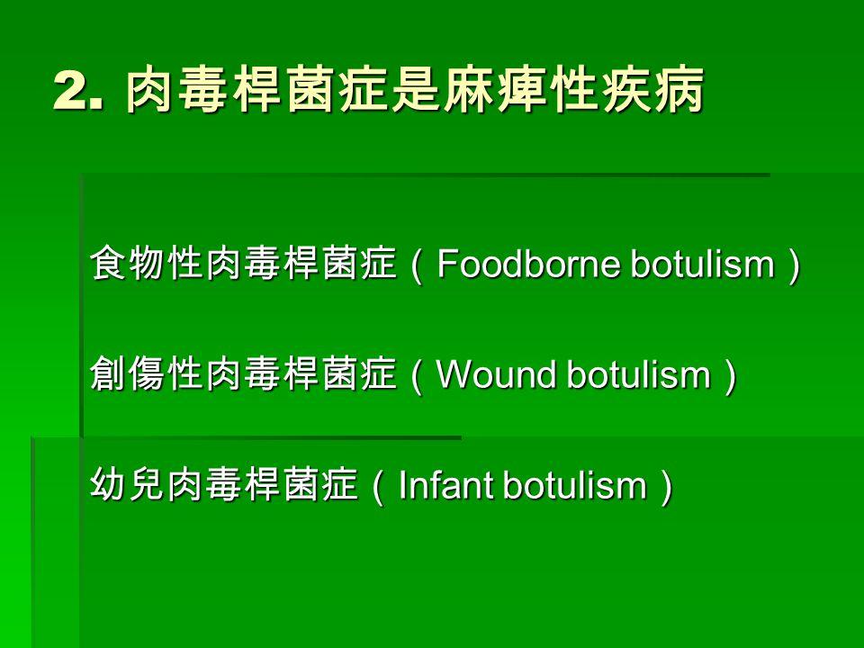 2. 肉毒桿菌症是麻痺性疾病 食物性肉毒桿菌症(Foodborne botulism) 創傷性肉毒桿菌症(Wound botulism) 幼兒肉毒桿菌症(Infant botulism)