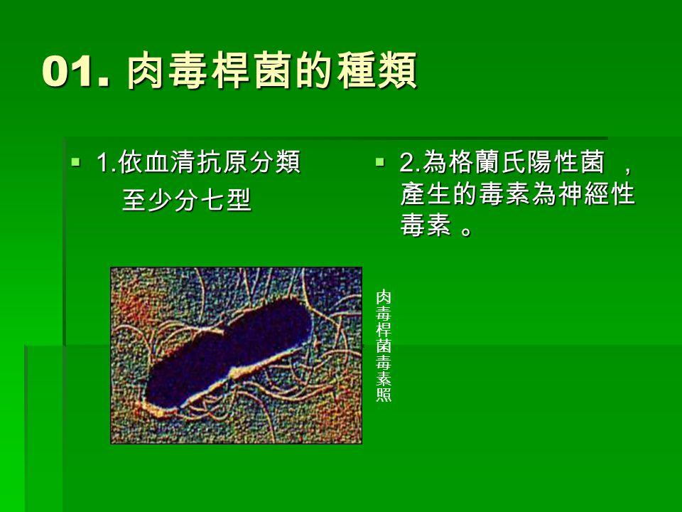 01. 肉毒桿菌的種類 1111.依血清抗原分類 至少分七型 2222.為格蘭氏陽性菌 , 產生的毒素為神經性 毒素 。