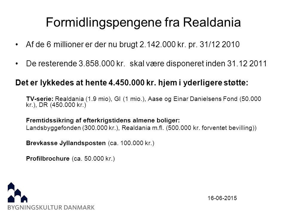 16-06-2015 Formidlingspengene fra Realdania Af de 6 millioner er der nu brugt 2.142.000 kr.