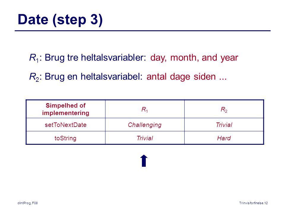 dIntProg, F08Trinvis forfinelse.12 Date (step 3) Simpelhed of implementering R1R1 R2R2 setToNextDateChallengingTrivial toStringTrivialHard R 1 : Brug tre heltalsvariabler: day, month, and year R 2 : Brug en heltalsvariabel: antal dage siden...