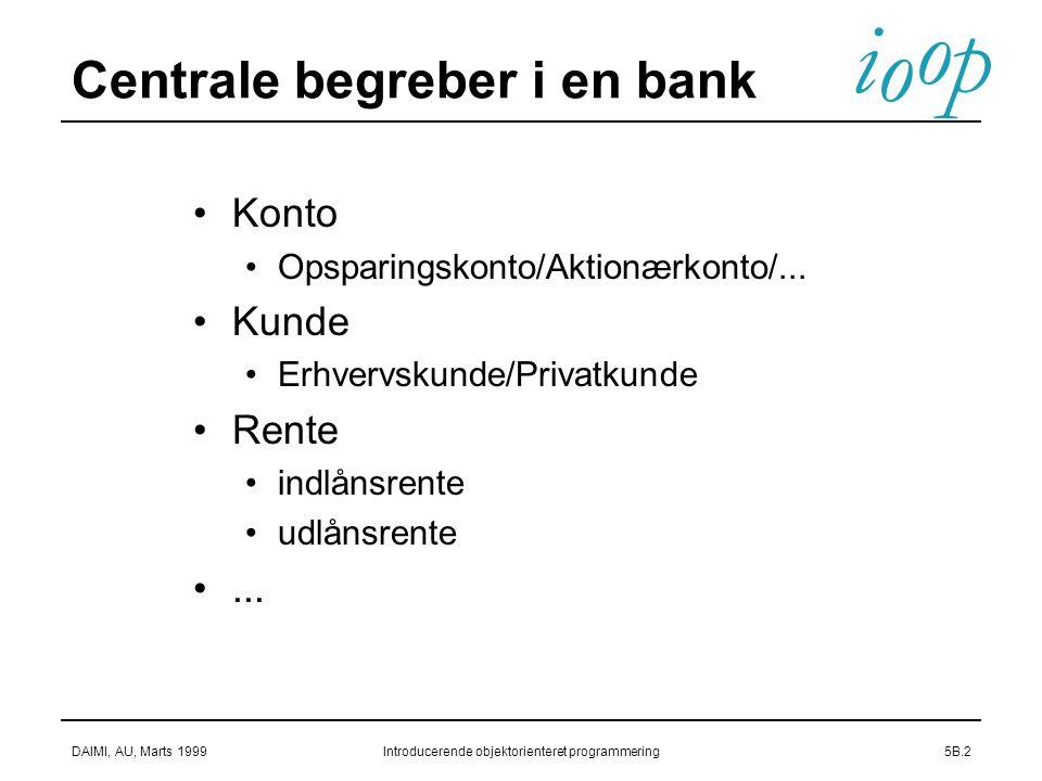 i o p o DAIMI, AU, Marts 1999Introducerende objektorienteret programmering5B.2 Centrale begreber i en bank Konto Opsparingskonto/Aktionærkonto/...