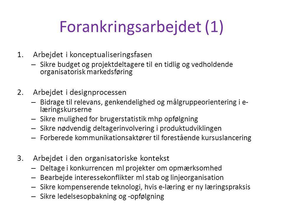 Forankringsarbejdet (1) 1.Arbejdet i konceptualiseringsfasen – Sikre budget og projektdeltagere til en tidlig og vedholdende organisatorisk markedsføring 2.Arbejdet i designprocessen – Bidrage til relevans, genkendelighed og målgruppeorientering i e- læringskurserne – Sikre mulighed for brugerstatistik mhp opfølgning – Sikre nødvendig deltagerinvolvering i produktudviklingen – Forberede kommunikationsaktører til forestående kursuslancering 3.Arbejdet i den organisatoriske kontekst – Deltage i konkurrencen ml projekter om opmærksomhed – Bearbejde interessekonflikter ml stab og linjeorganisation – Sikre kompenserende teknologi, hvis e-læring er ny læringspraksis – Sikre ledelsesopbakning og -opfølgning