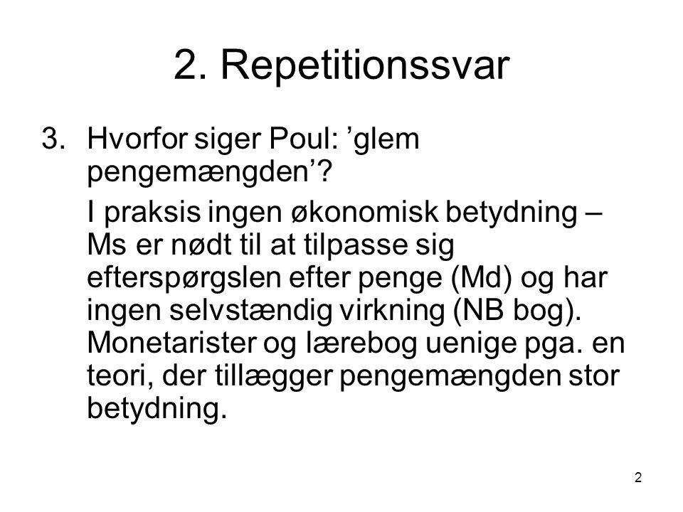 2 2. Repetitionssvar 3.Hvorfor siger Poul: 'glem pengemængden'.