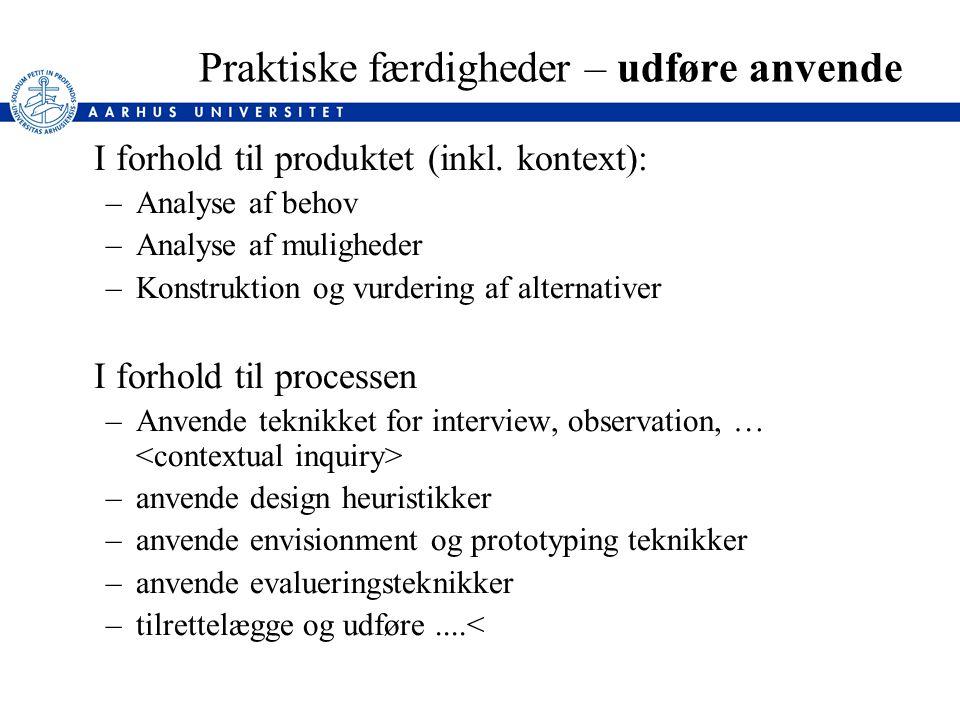 Praktiske færdigheder – udføre anvende I forhold til produktet (inkl. kontext): –Analyse af behov –Analyse af muligheder –Konstruktion og vurdering af