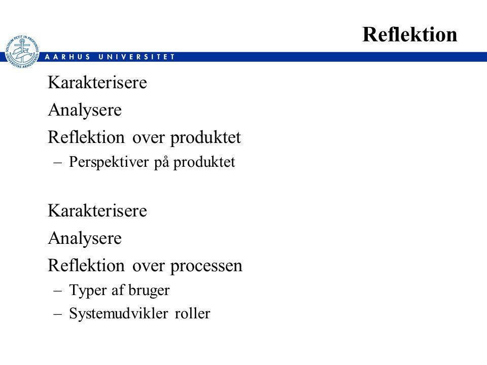 Reflektion Karakterisere Analysere Reflektion over produktet –Perspektiver på produktet Karakterisere Analysere Reflektion over processen –Typer af bruger –Systemudvikler roller