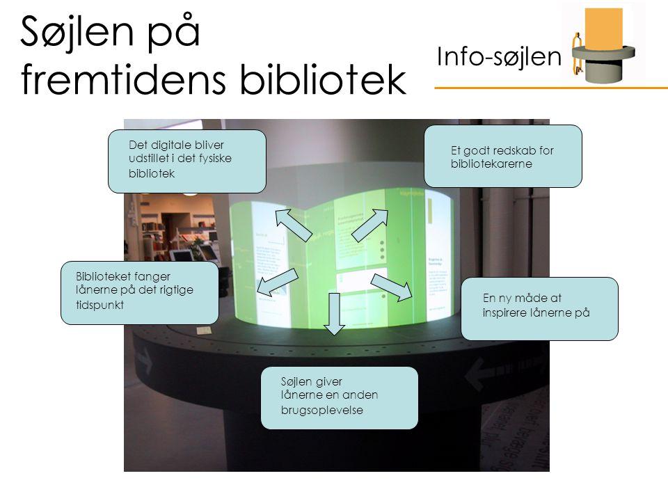 Søjlen på fremtidens bibliotek Info-søjlen Det digitale bliver udstillet i det fysiske bibliotek Biblioteket fanger lånerne på det rigtige tidspunkt Søjlen giver lånerne en anden brugsoplevelse En ny måde at inspirere lånerne på Et godt redskab for bibliotekarerne