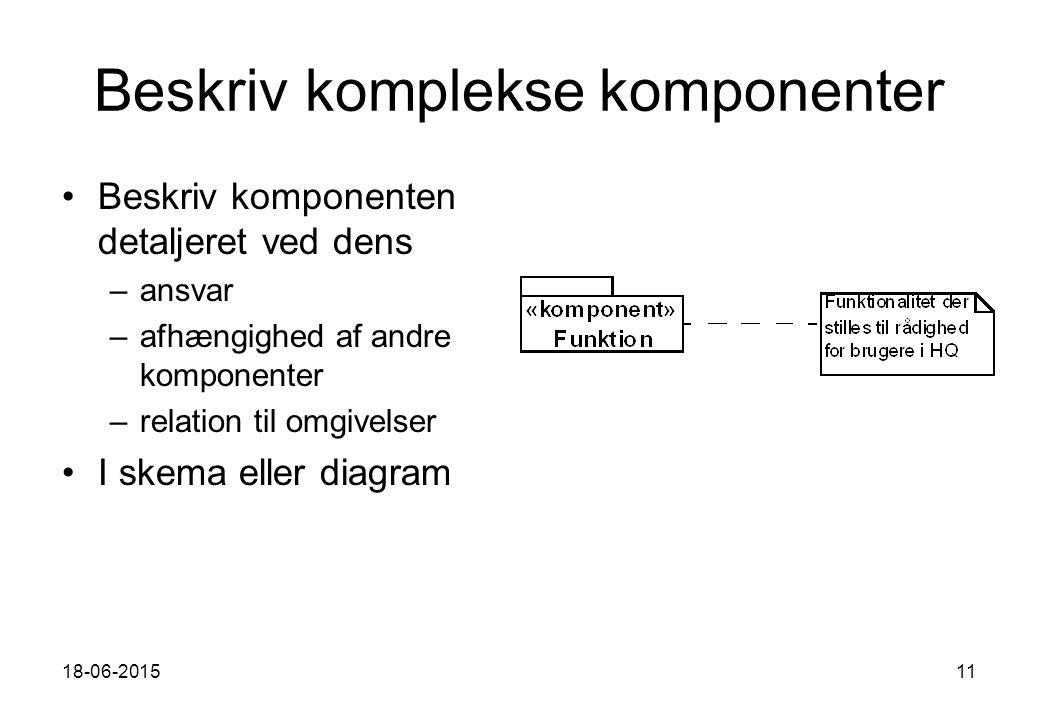 18-06-201511 Beskriv komplekse komponenter Beskriv komponenten detaljeret ved dens –ansvar –afhængighed af andre komponenter –relation til omgivelser I skema eller diagram