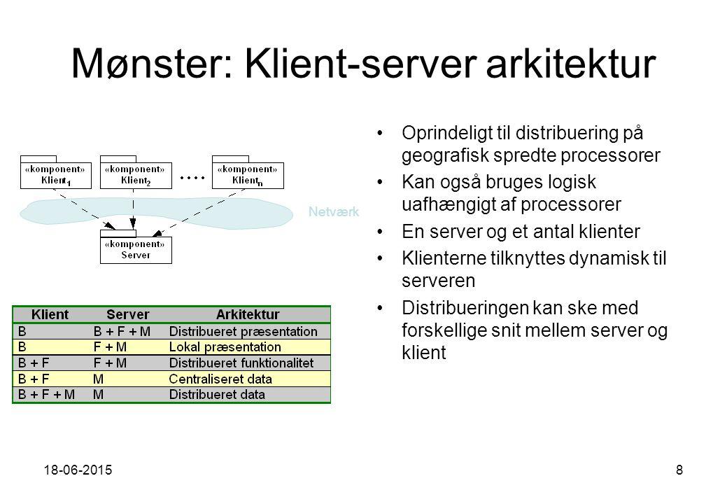 18-06-20158 Mønster: Klient-server arkitektur Oprindeligt til distribuering på geografisk spredte processorer Kan også bruges logisk uafhængigt af processorer En server og et antal klienter Klienterne tilknyttes dynamisk til serveren Distribueringen kan ske med forskellige snit mellem server og klient Netværk