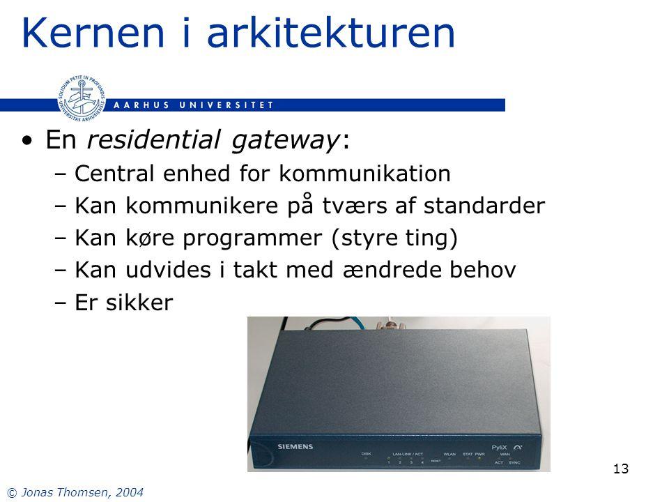 © Jonas Thomsen, 2004 13 Kernen i arkitekturen En residential gateway: –Central enhed for kommunikation –Kan kommunikere på tværs af standarder –Kan køre programmer (styre ting) –Kan udvides i takt med ændrede behov –Er sikker