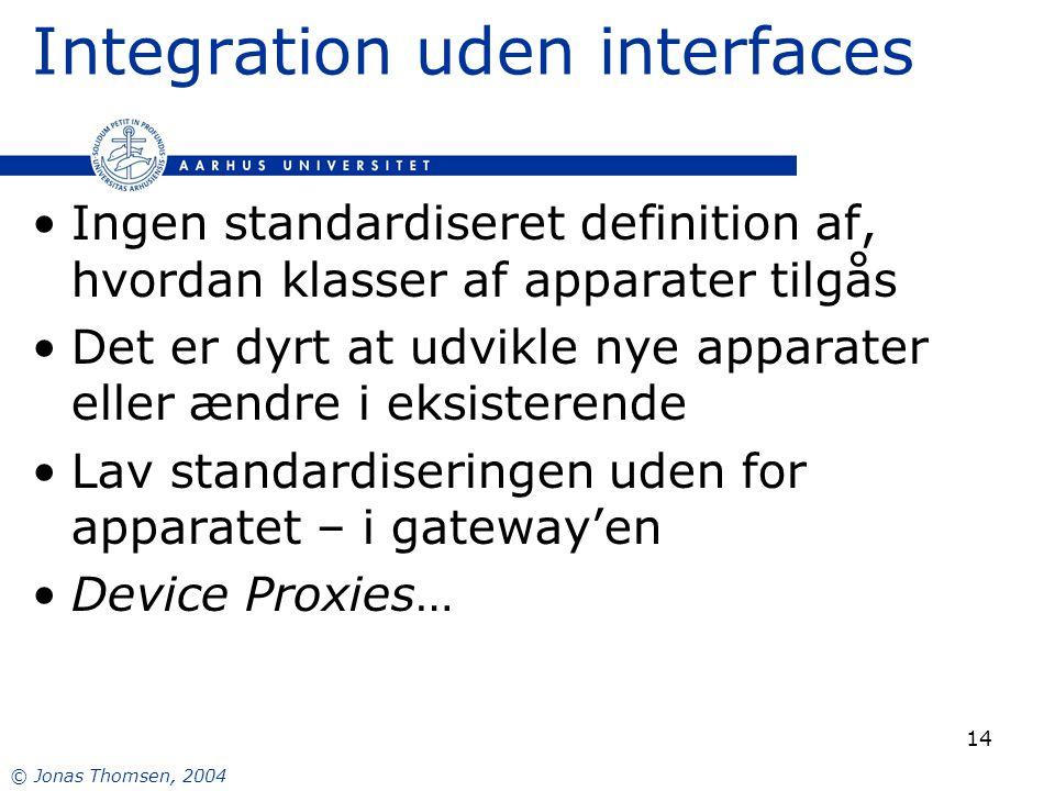 © Jonas Thomsen, 2004 14 Integration uden interfaces Ingen standardiseret definition af, hvordan klasser af apparater tilgås Det er dyrt at udvikle nye apparater eller ændre i eksisterende Lav standardiseringen uden for apparatet – i gateway'en Device Proxies…