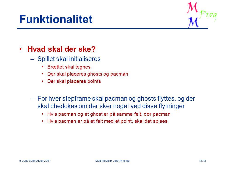  Jens Bennedsen 2001Multimedie programmering13.12 Funktionalitet Hvad skal der ske.