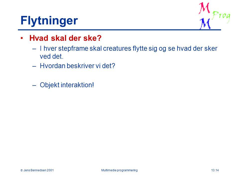 Jens Bennedsen 2001Multimedie programmering13.14 Flytninger Hvad skal der ske.