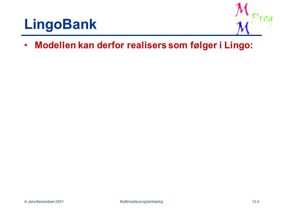  Jens Bennedsen 2001Multimedie programmering13.4 LingoBank Modellen kan derfor realisers som følger i Lingo: