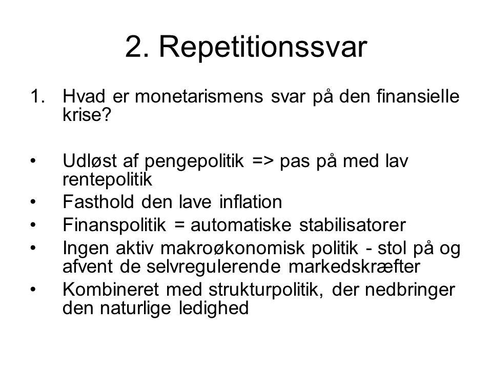 2. Repetitionssvar 1.Hvad er monetarismens svar på den finansielle krise.