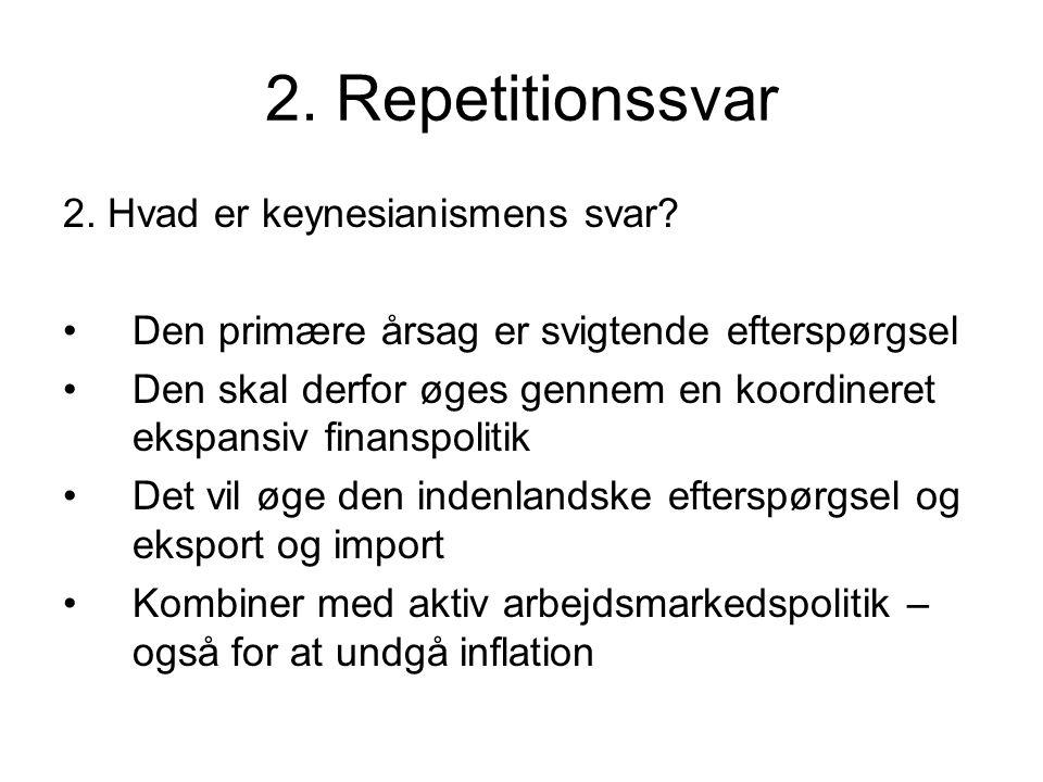 2. Repetitionssvar 2. Hvad er keynesianismens svar.