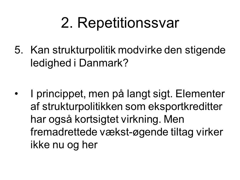 2. Repetitionssvar 5.Kan strukturpolitik modvirke den stigende ledighed i Danmark.