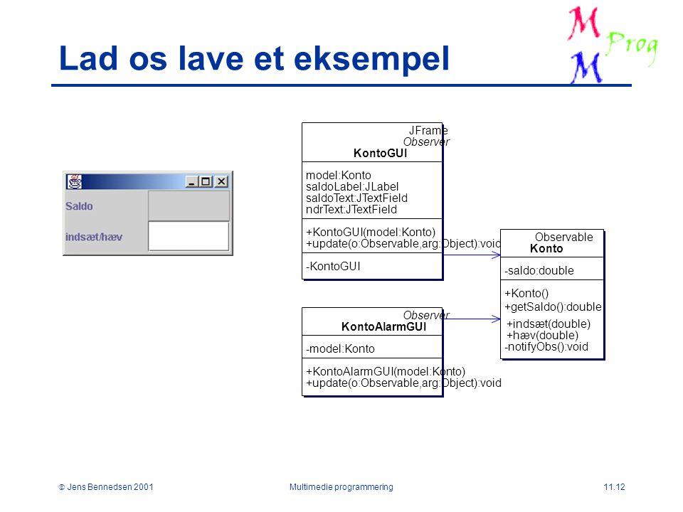 Jens Bennedsen 2001Multimedie programmering11.12 Lad os lave et eksempel JFrame Observer KontoGUI model:Konto saldoLabel:JLabel saldoText:JTextField ndrText:JTextField +KontoGUI(model:Konto) +update(o:Observable,arg:Object):void -KontoGUI Observable Konto -saldo:double +Konto() +getSaldo():double -notifyObs():void Observer KontoAlarmGUI -model:Konto +KontoAlarmGUI(model:Konto) +update(o:Observable,arg:Object):void +indsæt(double) +hæv(double)