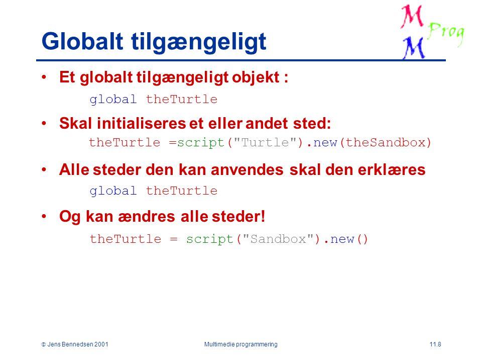  Jens Bennedsen 2001Multimedie programmering11.8 Globalt tilgængeligt Et globalt tilgængeligt objekt : Skal initialiseres et eller andet sted: Alle steder den kan anvendes skal den erklæres Og kan ændres alle steder.