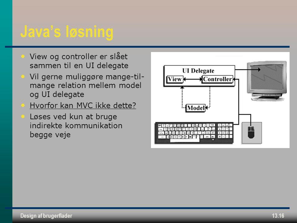 Design af brugerflader13.16 Java's løsning View og controller er slået sammen til en UI delegate Vil gerne muliggøre mange-til- mange relation mellem model og UI delegate Hvorfor kan MVC ikke dette.