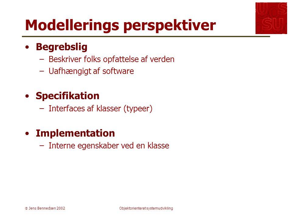  Jens Bennedsen 2002Objektorienteret systemudvikling Modellerings perspektiver Begrebslig –Beskriver folks opfattelse af verden –Uafhængigt af software Specifikation –Interfaces af klasser (typeer) Implementation –Interne egenskaber ved en klasse