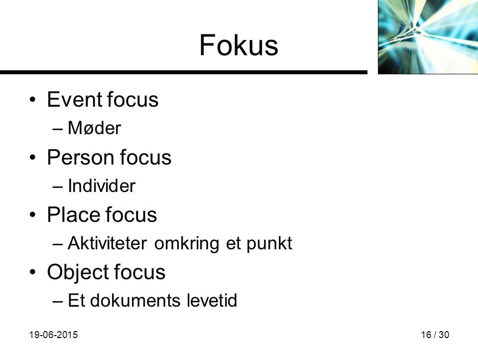 19-06-201516 / 30 Fokus Event focus –Møder Person focus –Individer Place focus –Aktiviteter omkring et punkt Object focus –Et dokuments levetid