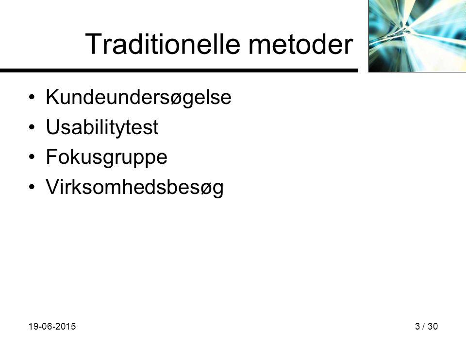 19-06-20153 / 30 Traditionelle metoder Kundeundersøgelse Usabilitytest Fokusgruppe Virksomhedsbesøg
