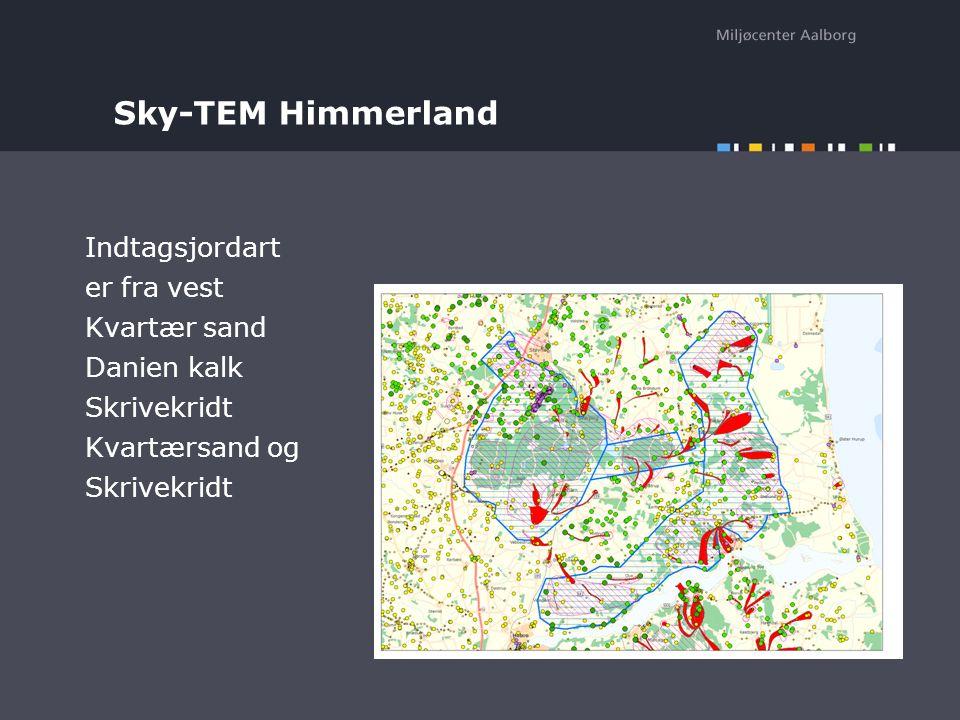 Sky-TEM Himmerland Indtagsjordart er fra vest Kvartær sand Danien kalk Skrivekridt Kvartærsand og Skrivekridt