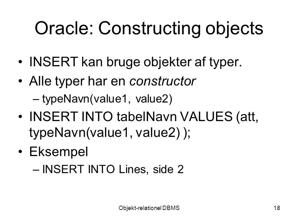 Objekt-relationel DBMS18 Oracle: Constructing objects INSERT kan bruge objekter af typer.