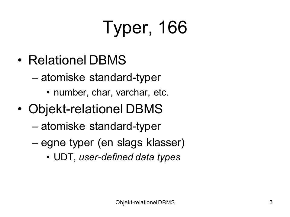 Objekt-relationel DBMS3 Typer, 166 Relationel DBMS –atomiske standard-typer number, char, varchar, etc.
