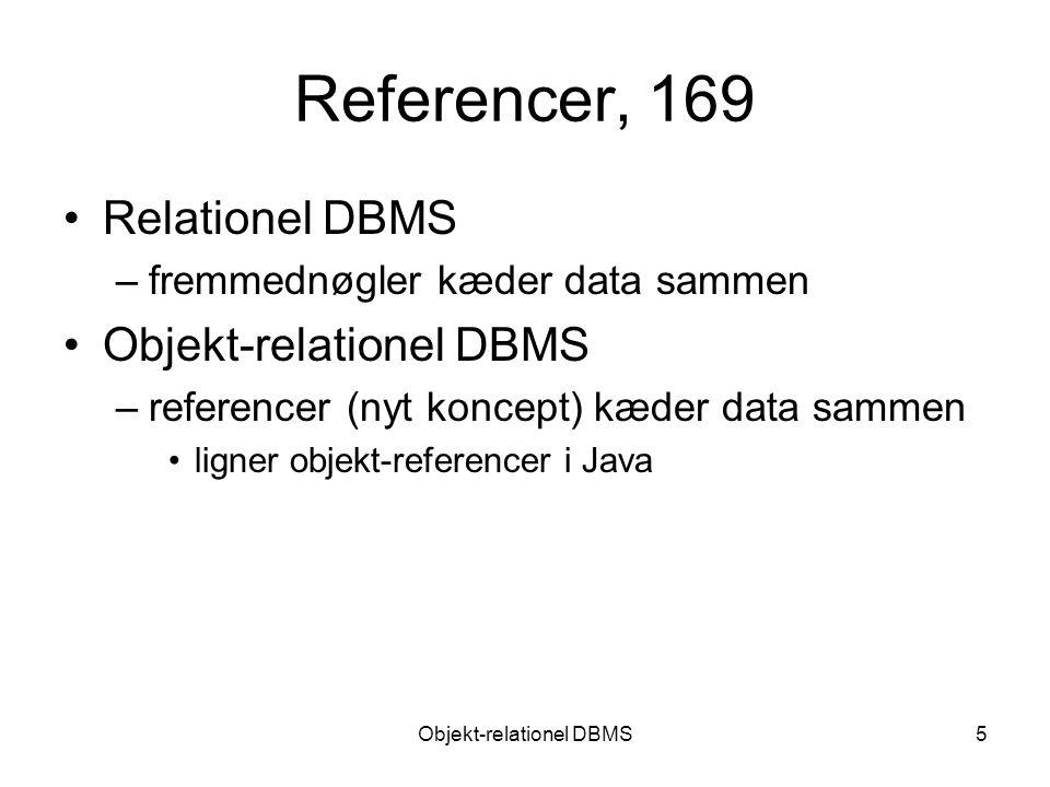 Objekt-relationel DBMS5 Referencer, 169 Relationel DBMS –fremmednøgler kæder data sammen Objekt-relationel DBMS –referencer (nyt koncept) kæder data sammen ligner objekt-referencer i Java