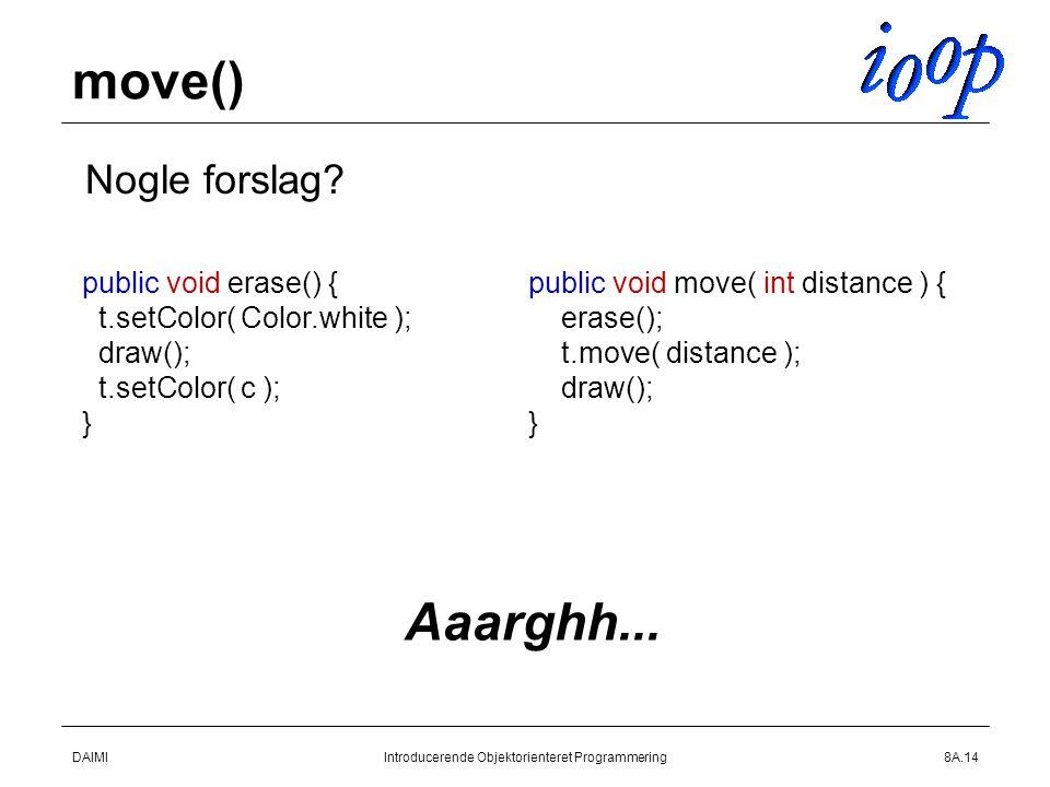DAIMIIntroducerende Objektorienteret Programmering8A.14 move()  Nogle forslag.
