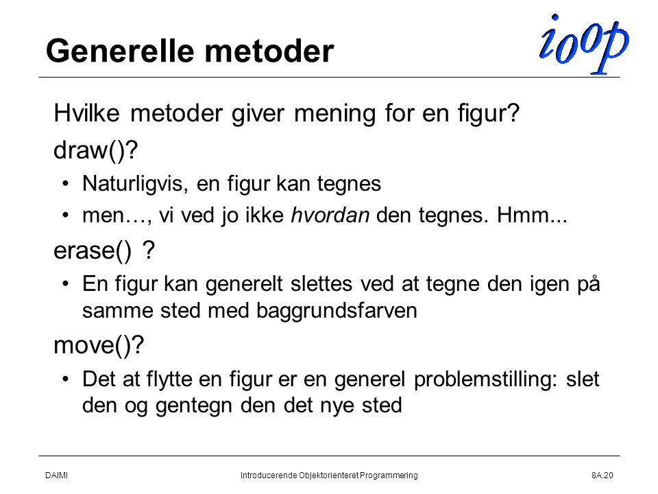 DAIMIIntroducerende Objektorienteret Programmering8A.20 Generelle metoder  Hvilke metoder giver mening for en figur.
